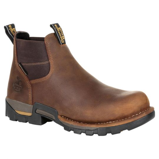 Georgia Boot Eagle One Waterproof Chelsea Work Boot EH SPR - Soft Toe - Brown