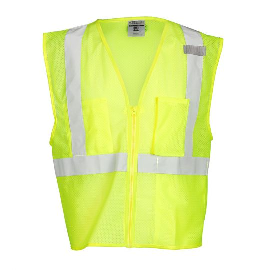 Single Pocket Zipper Mesh Class 2 Vest